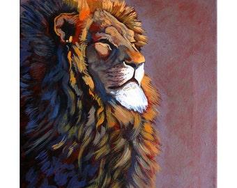 "Lion Art Print - Print of Original Acrylic Painting - Safari Nursery Art - Lion Wall Art - 8 1/2"" x 11"""