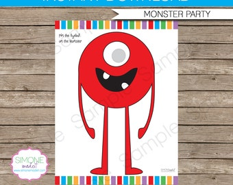 Pin the Eye on the Monster game - 18 x 24 inches PDF file - INSTANT DOWNLOAD - Printable Monster Birthday Party file
