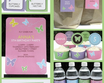 Butterfly Party Invitations & Decorations - full Printable Package - INSTANT DOWNLOAD with EDITABLE text - you personalize at home