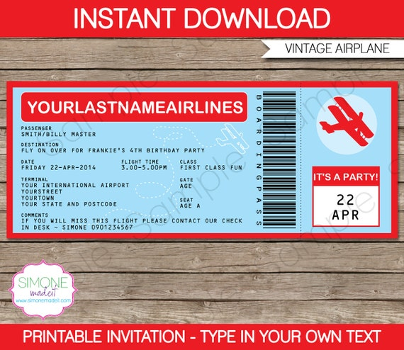 Vintage Airplane Party Printables Airplane Birthday Airplane: Vintage Airplane Boarding Pass Invitation INSTANT By