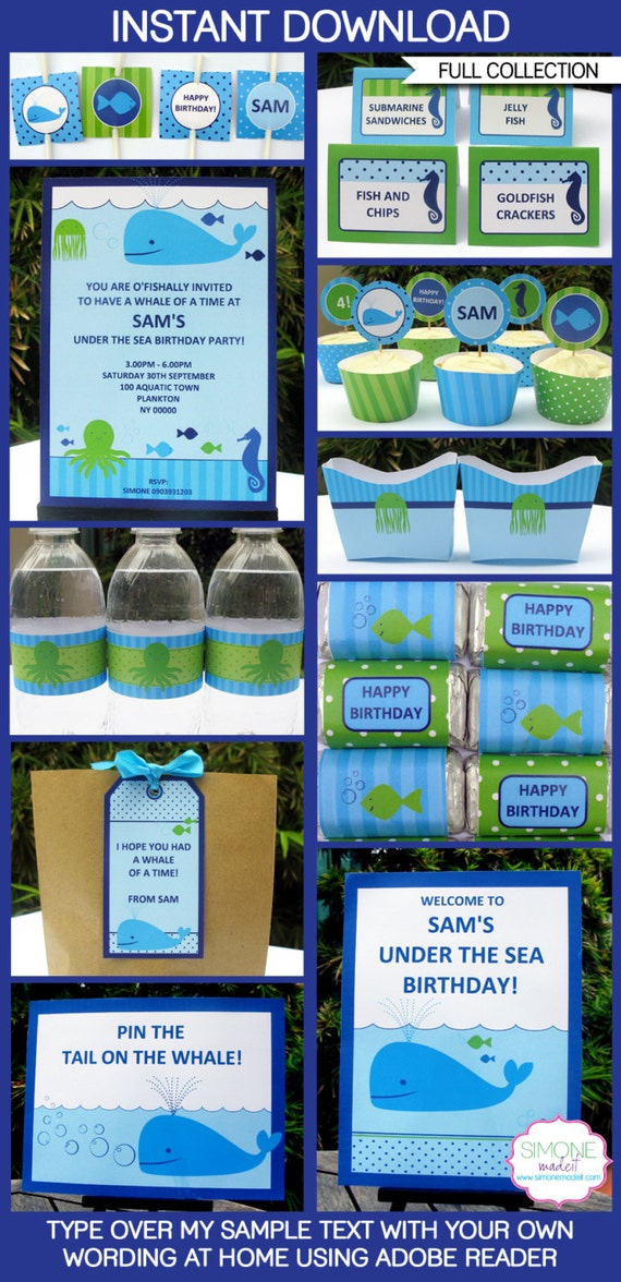 Under the Sea Party Invitations & Decorations - full Printable Package - INSTANT DOWNLOAD with EDITABLE text - you personalize at home