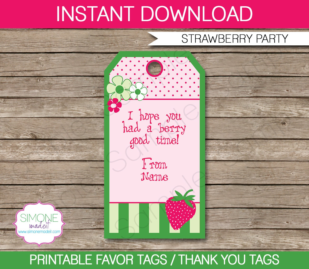 Strawberry Shortcake Favor Tags Thank You Tags Birthday