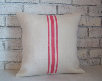 Bright Pink Striped Pillow Cover or Choice of Colors, Hand Painted Grain Sack Pillow Cover, Burlap Decorative Pillow, Spring Home Decor