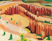 "Utah Landscape, Bryce Canyon, Original Painting, Art, 8"" x 8"" x 3/4"" ready to hang"
