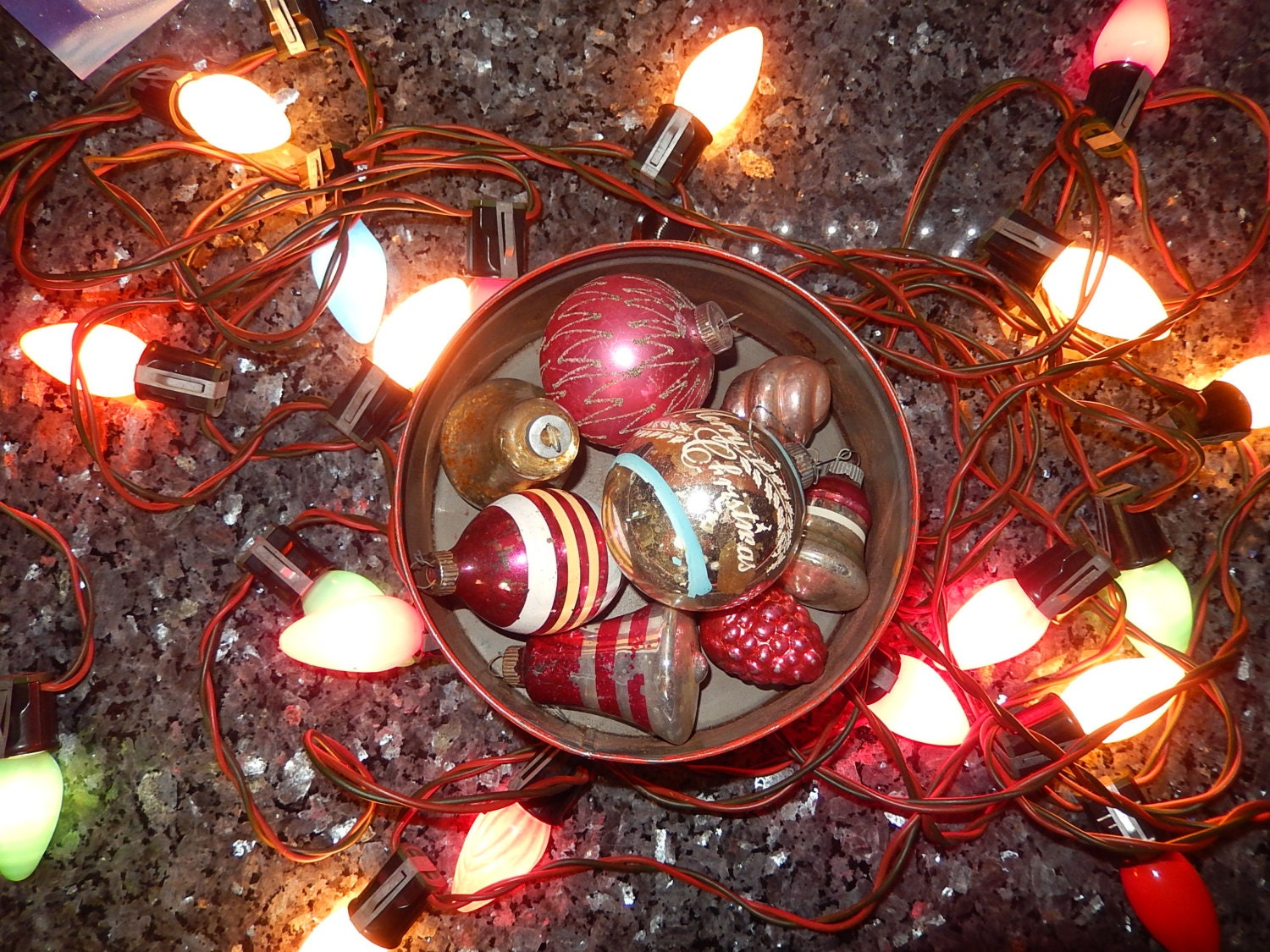 Antique Christmas Ornaments 1950s Xmas Tree By