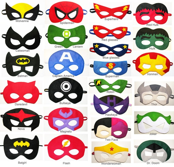 20 felt superhero masks party pack for kids you choose - Masque de superman ...