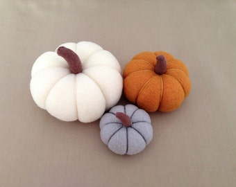 Pumpkin Autumn Decor Thanksgiving Decor Fabric Pumpkins Felt Pumpkins Harvest Table Decor Rustic Home Decor Mustard White Grey