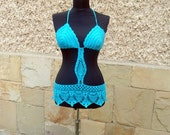 SUMMER SALE Crochet Beach Top, Turquoise Beachwear, Crochet bikini, Crochet Sexy Bra, Summer Cover up, Turquoise suit, Summer Clothes