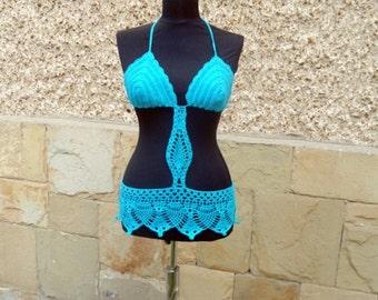 SUMMER SALE Crochet Beach Top, Turquoise Beachwear, Crochet bikini, Crochet Sexy Bra, Summer Cover up, Turquoise suit, Summer Clothes