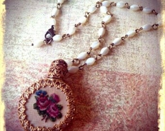 Vintage Perfume Bottle Necklace - Upcycled, Repurposed, Victorian, Unique,Needlepoint, One of a Kind Jewelry