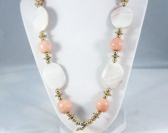 Peach and Gold Beads with Shells Necklace
