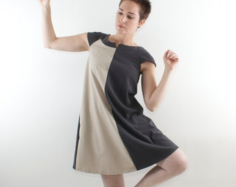 Gray mini dress, Gray trapeze dress, Gray elegant dress, Gray day dress, Gray casual dress, Gray maternity dress