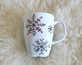 """Hand Painted Porcelain Mug - """"Snowflake"""" Design, Tea Mug, Coffee Mug, Gift Idea for Tea lovers, Coffee lovers, Christmas gift mug, Xmas gift"""