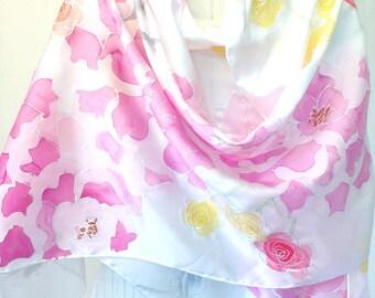 Silk Shawl Scarf Hand Painted, White Silk Shawl, Pink Spring Bouquet, Silk Scarves Takuyo, Bridal Silk Satin. 22x90 inches.