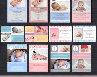 INSTANT DOWNLOAD Baptism Templates - Christening Templates - 12 PSD Commercial use Templates
