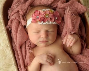 Mauve hydrangea flower headbands Newborn Headbands..Baby Headbands...Infant Headbands. Flower Headbands