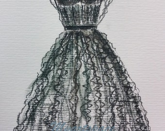 Black Chanel evening dress, Custom black dress drawing, layered dress sketch, pencils, drawing, watercolor
