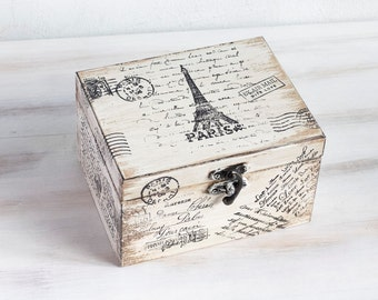 Paris Wooden Box Beige Treasury Box Jewelry box Eiffel tower Box Paris Memory box Keepsake box Jewelry Storage Jewelry ring box