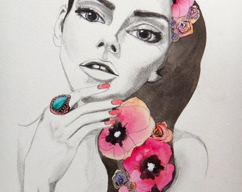watercolor fashion portrait drawing painted illustration ART PRINT - by Rikki Sneddon