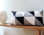 Geometric Pillow Cover/Lumbar Pillow/Triangle/Black White Slate/ Minimalistic/Modern/ Cotton Canvas/ New Collection/Zigzag Studio Design