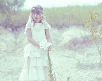First Communion Dress, Confirmation dress, Flower girl dress with lace and Flower Floor length. Organic cotton dress. Ruffled dress