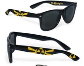 Hand painted Legend of Zelda sunglasses - unique custom Wayfarer sunglasses - Zelda -Triforce - Hylian seal - Gold and black