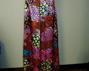 Vtg 70s Flower Rainbow Hippie Boho Festival Maxi Skirt MOD BOHO