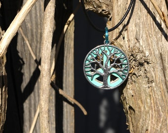 Hippie Necklace,Tree of Life Necklace, Tree of Life Pendant, Reversible Necklace, Blue Peace Sign Necklace