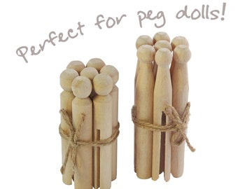 14 dolly pegs: Bundle of 7 craft pegs & 7 traditional pegs, wood pegs, peg dolls or clothespin dolls in solid birch