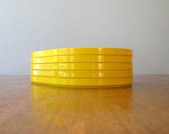 Five Vintage 70's Mod Plastic Crayonne Snack Plates