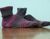 Hand KNITTED WOOL SOCKS mens or woman  - merino - stunning colors - shades of Plum and Charcoal - made to order- Spatlese