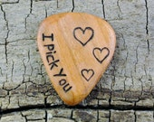 I Pick You 3 Hearts Design engraved on a Wooden Guitar Pick or Other Designs Available - Wood Guitar Pick - Custom Guitar Pick