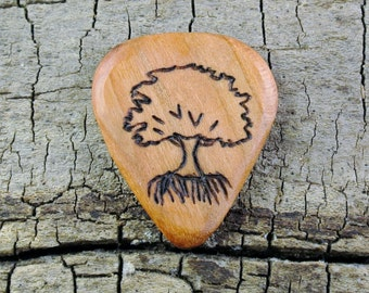 Tree Design engraved on a Wooden Guitar Pick or Other Designs Available - Wood Guitar Pick - Custom Guitar Pick