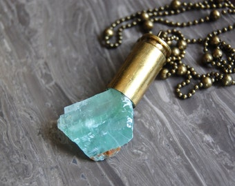 Green Calcite Rock Bullet Necklace