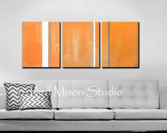 """Painting Abstract Art XLarge 54"""" x 24"""" Orange and Grey Triptych, Original Abstract Art"""