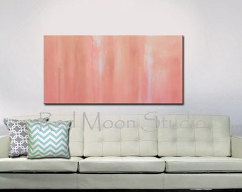 Abstract Painting Art Coral and Salmon, Large 48x24, Original Abstract Art on Canvas