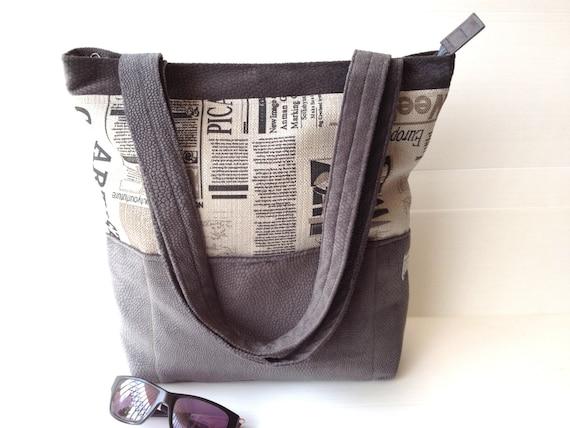 vegan grey tote grey printed bag outside pockets over the