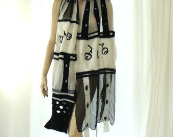 Nuno Felted Scarf - black and white shawl - silk and wool felt scarf