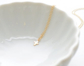 Tiny Gold Cross Necklace - small cross necklace - 1181