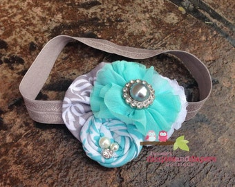 Aqua Ruffles-Grey and Aqua flower headband-Tiffany blue-Child Clip-Vintage style headband-Photography Prop