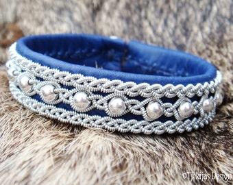 Swedish Blue Leather Cuff Bracelet YDUN Nordic Spirit Custom Handmade Sami Lapland Bracelet with Sterling Silver Beads - Tribal Elegance