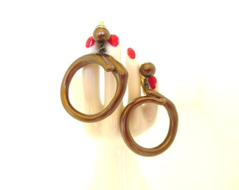 Vintage Thermoset Clip Earrings Circle Dangles Chocolate Brown 50's (item 167)