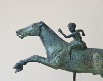 Bronze Greek Horse & Jockey, Large Metal Art Sculpture, Ancient Greece, Museum Replica, Horse Statue, Equine Decor, Greek Art, Art Decor