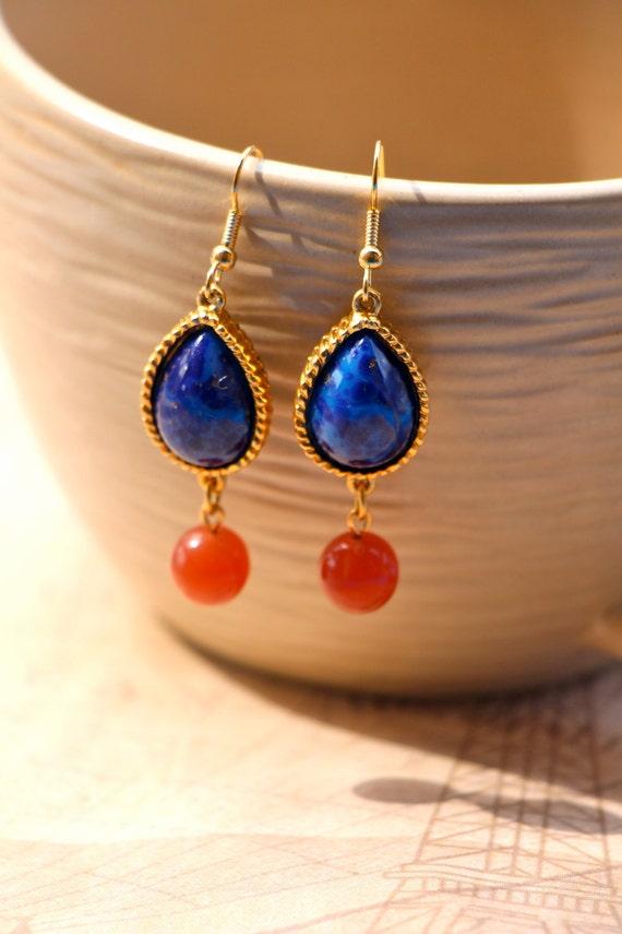 Blue Amp Coral Stone Teardrop Earrings With Gold Bezel