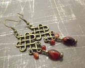 Clearance/Red Agate Brass Celtic Chandelier Earrings