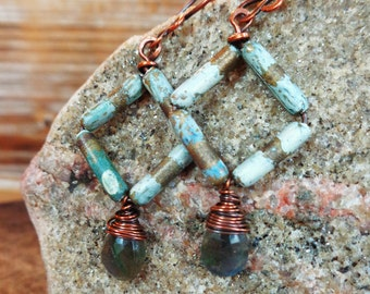 Babble. Hammered Artisan Boho Copper Drop Earrings with Wire Wrapped Fiery Labradorite and Upcycled Painted Metal Beads-Vintage Recycled Art