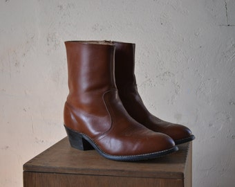 Vintage Union Made in USA Brown Leather Zip Up Beatles Boots, Mens 8 Wide / ITEM068