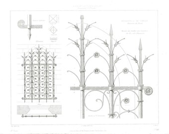 Antique Architectural Print 1856, Troyes Cathedral, Iron Windows, Gothic Architecture, Religious Architecture