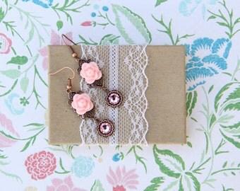 Pink Rose Earrings, Bridal Earrings, Vintage Wedding, Copper Filigree, Filigree Earrings, Vintage Style, Gift For Her, Jewelry Under 30