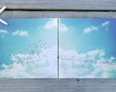 "Bird Wall Art | Contemporary Art Poster Print Set of Two 12"" x 12"" 